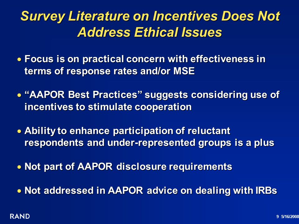 Survey Literature on Incentives Does Not Address Ethical Issues