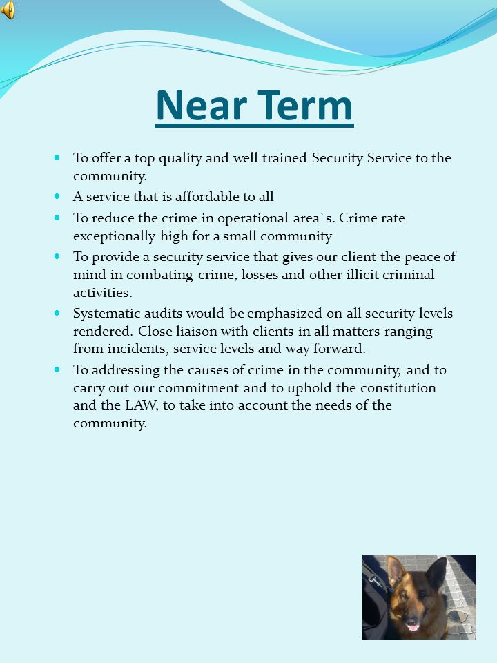Near Term To offer a top quality and well trained Security Service to the community. A service that is affordable to all.