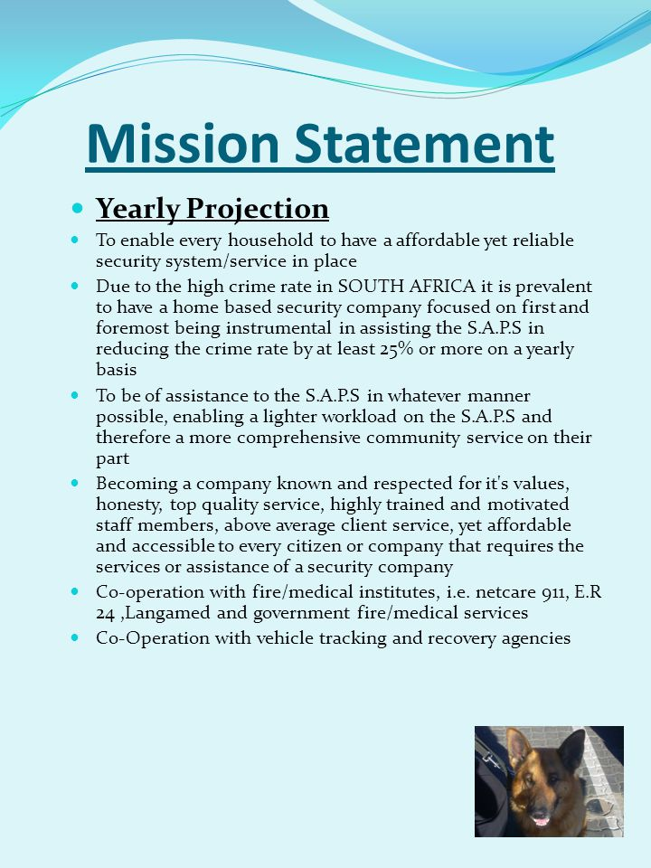 Mission Statement Yearly Projection