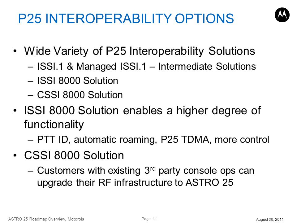 P25 INTEROPERABILITY OPTIONS