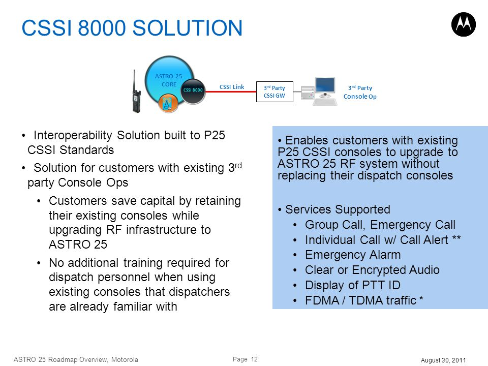 INTEROPERABILITY CSSI 8000 SOLUTION