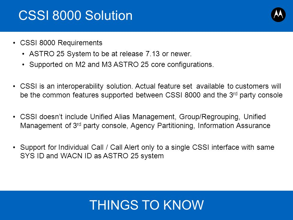 CSSI 8000 Solution THINGS TO KNOW CSSI 8000 Requirements