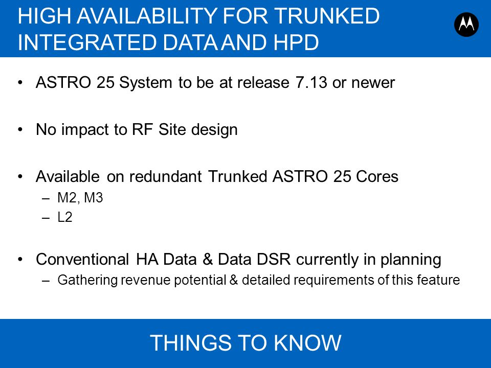 HIGH AVAILABILITY FOR TRUNKED INTEGRATED DATA AND HPD