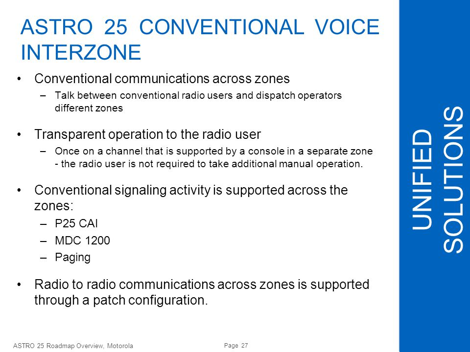 UNIFIED SOLUTIONS ASTRO 25 CONVENTIONAL VOICE INTERZONE