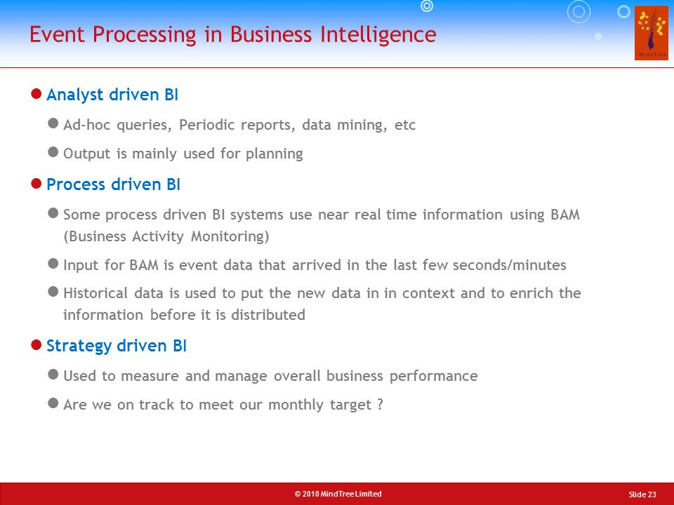 Event Processing in Business Intelligence