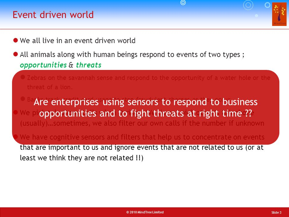 Event driven world We all live in an event driven world.
