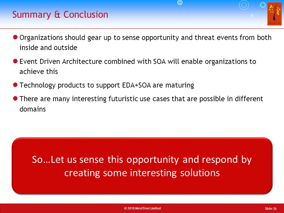 Summary & Conclusion Organizations should gear up to sense opportunity and threat events from both inside and outside.