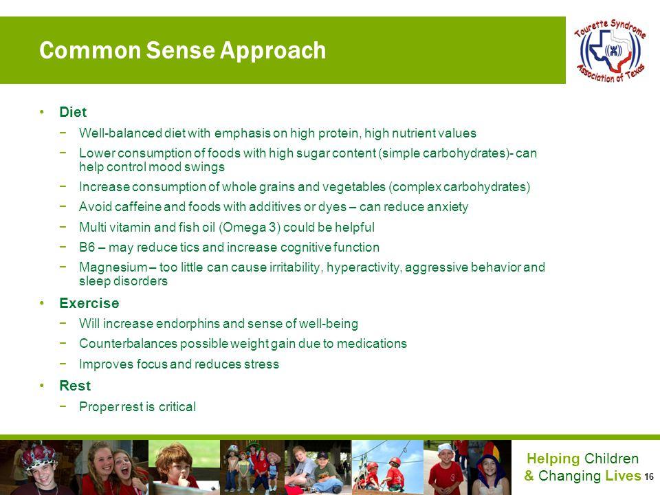 Common Sense Approach Diet Exercise Rest