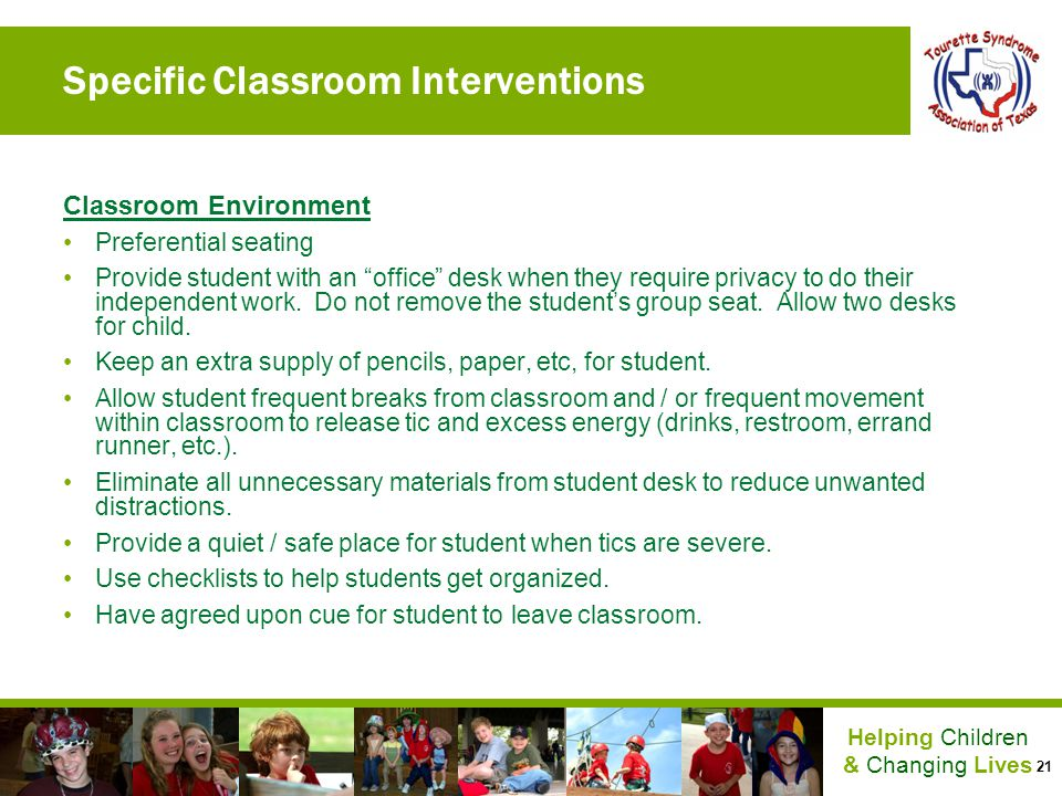 Specific Classroom Interventions