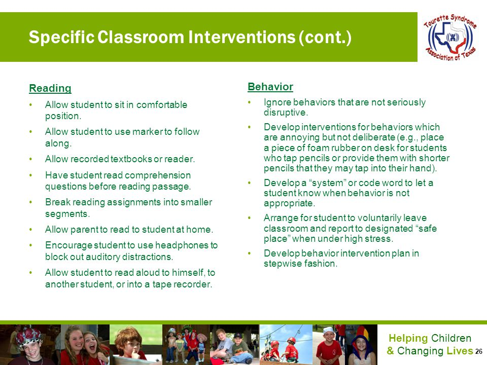 Specific Classroom Interventions (cont.)