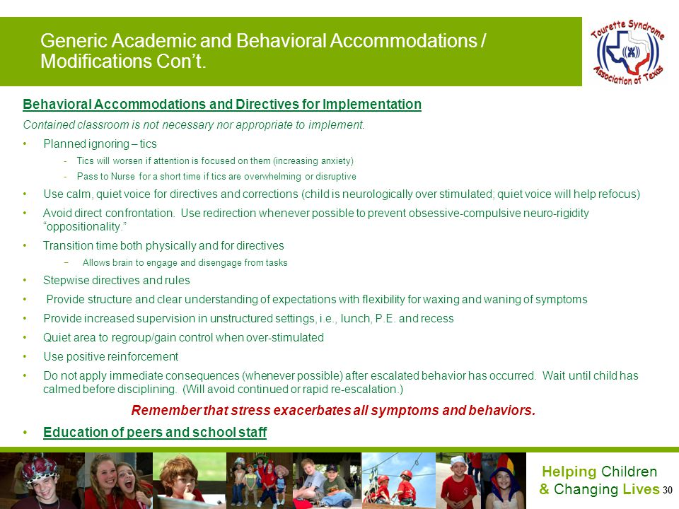 Generic Academic and Behavioral Accommodations / Modifications Con't.
