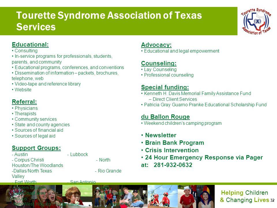 Tourette Syndrome Association of Texas Services