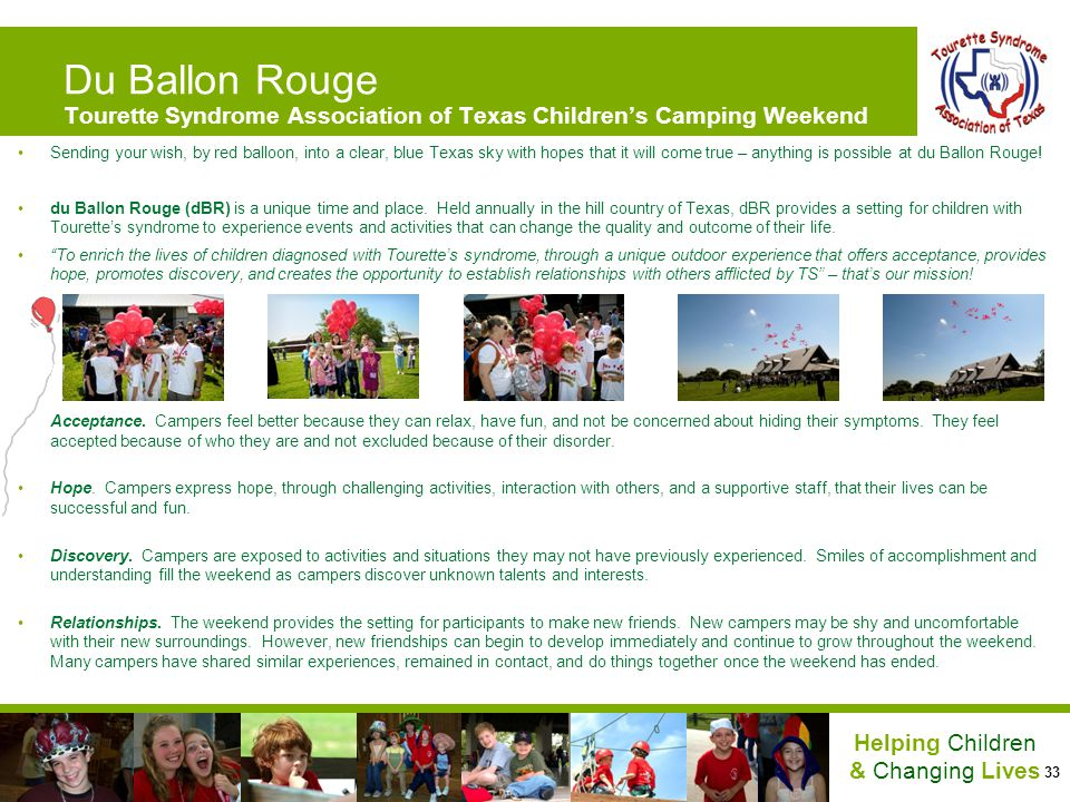 Du Ballon Rouge Tourette Syndrome Association of Texas Children's Camping Weekend