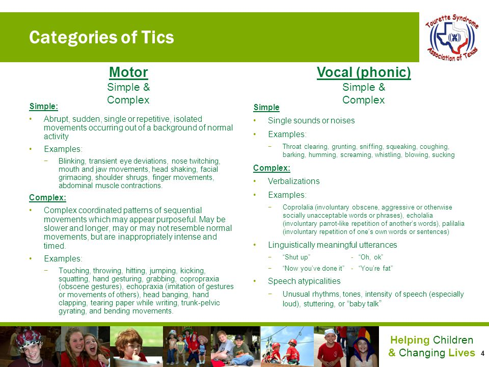 Categories of Tics Motor Vocal (phonic) Simple & Complex Simple &
