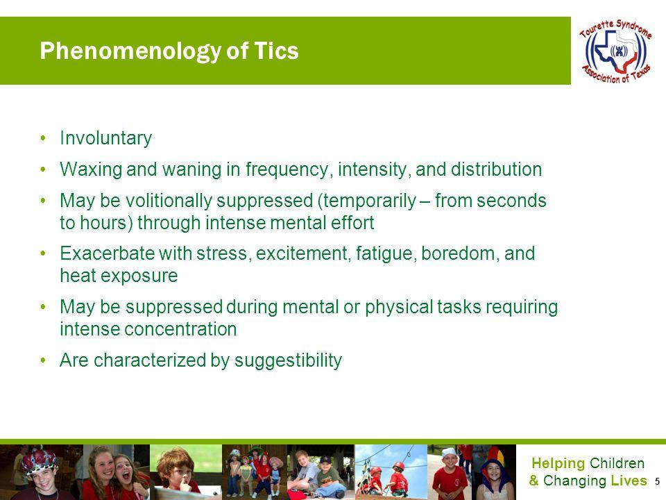 Phenomenology of Tics Involuntary