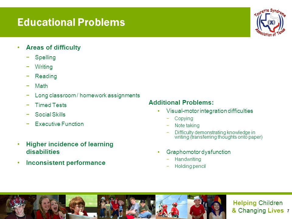 Educational Problems Areas of difficulty