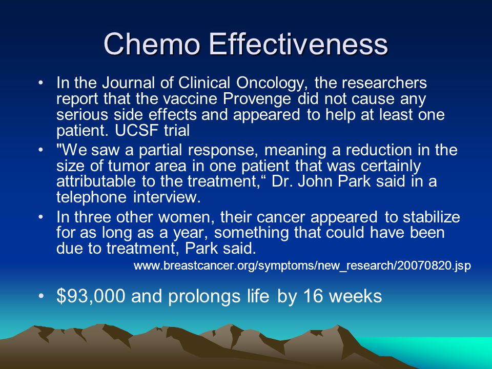 Chemo Effectiveness $93,000 and prolongs life by 16 weeks