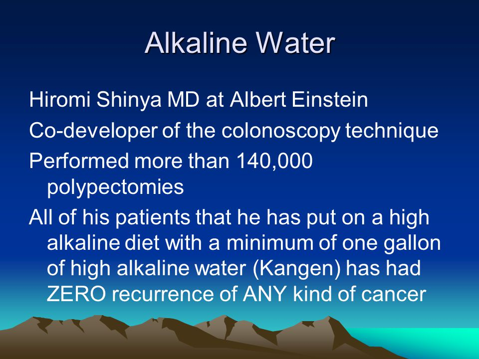 Alkaline Water Hiromi Shinya MD at Albert Einstein