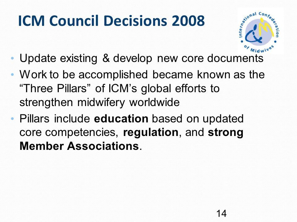 ICM Council Decisions 2008 Update existing & develop new core documents.