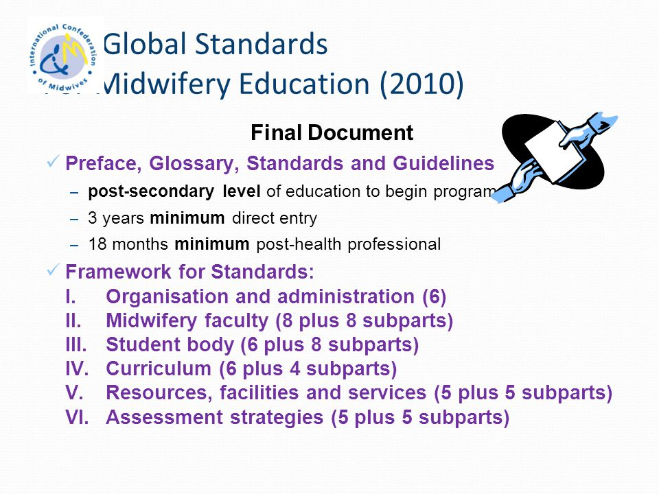 ICM Global Standards For Midwifery Education (2010)