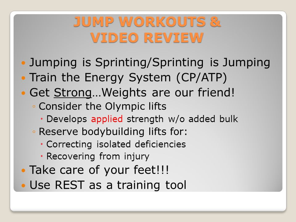 JUMP WORKOUTS & VIDEO REVIEW