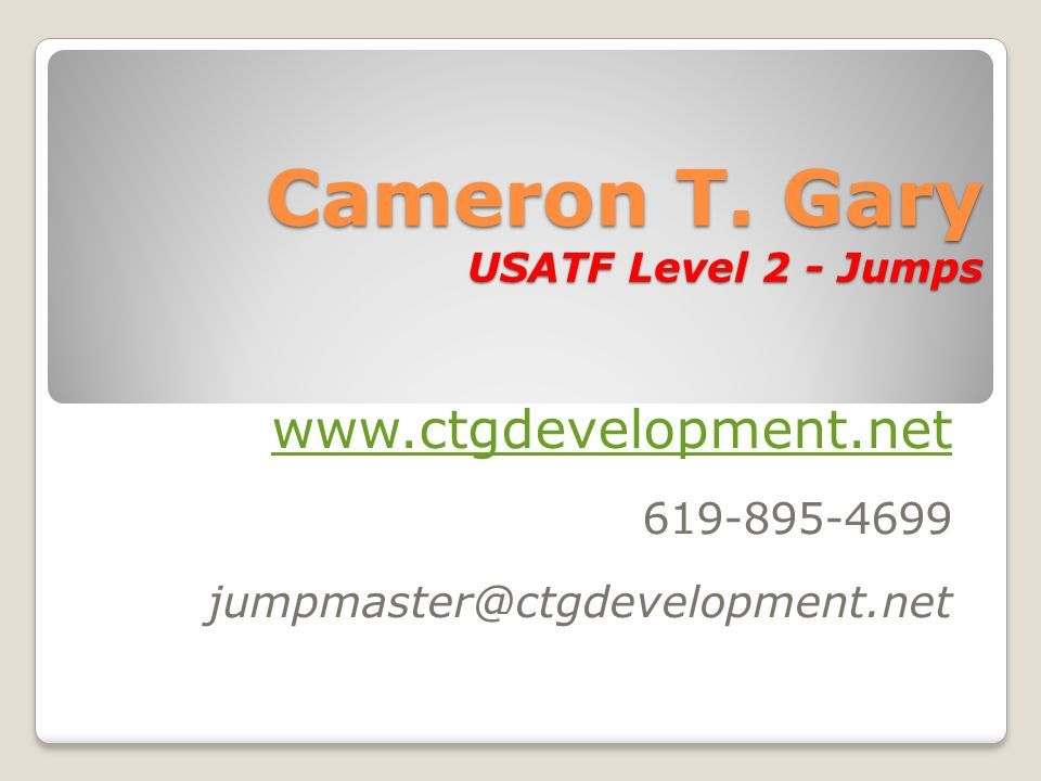 Cameron T. Gary USATF Level 2 - Jumps