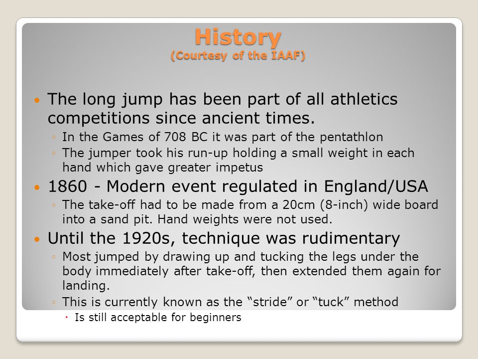 History (Courtesy of the IAAF)