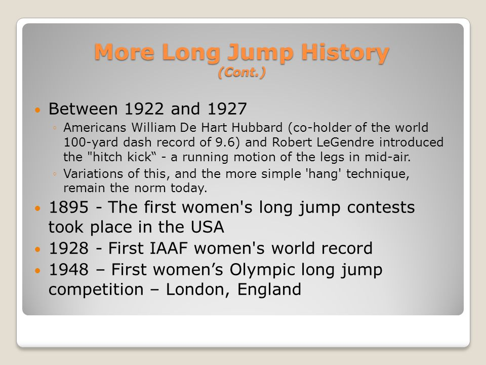 More Long Jump History (Cont.)