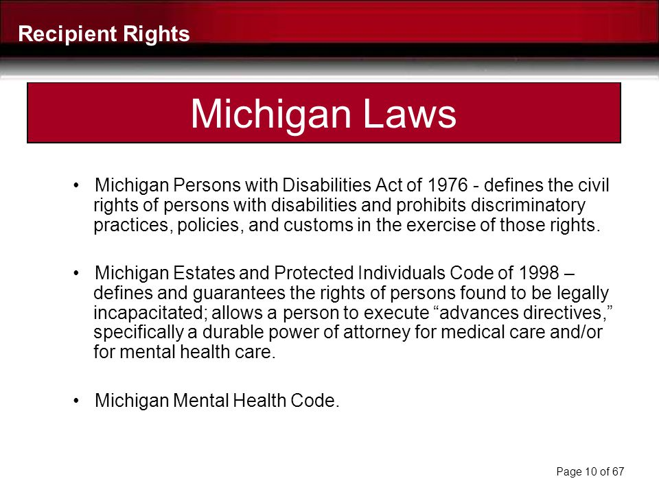 Michigan Laws Recipient Rights