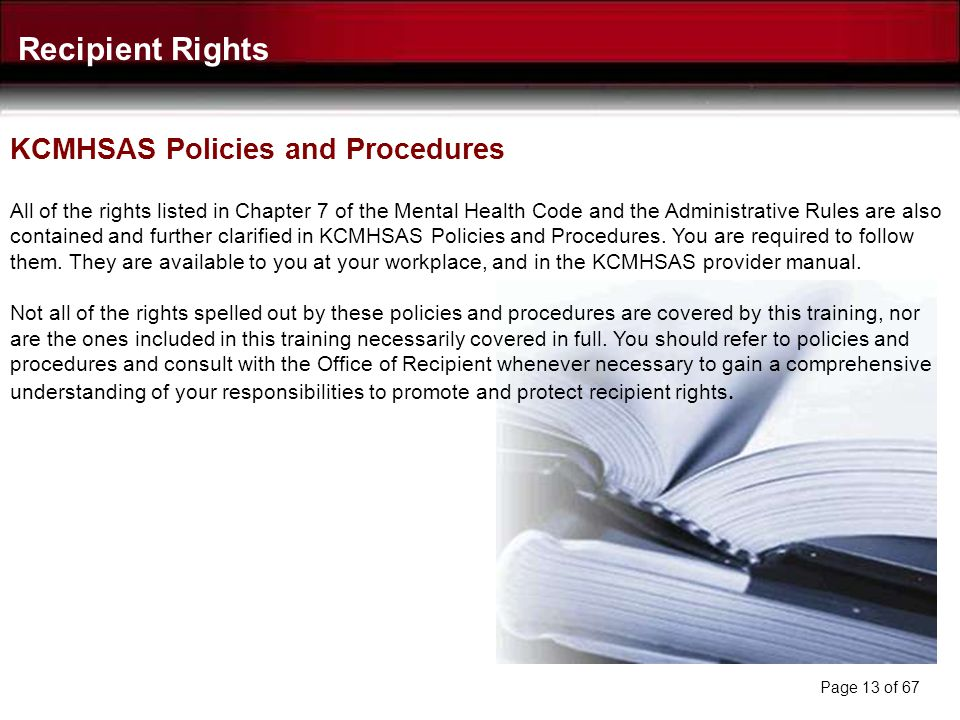 Recipient Rights KCMHSAS Policies and Procedures