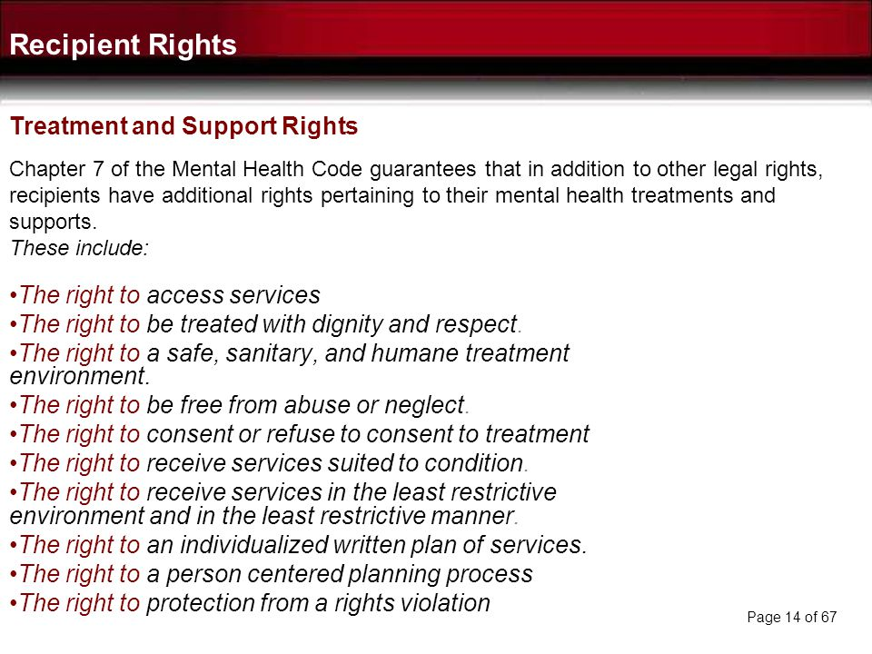 Recipient Rights Treatment and Support Rights