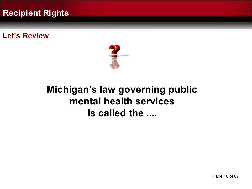 Michigan's law governing public mental health services