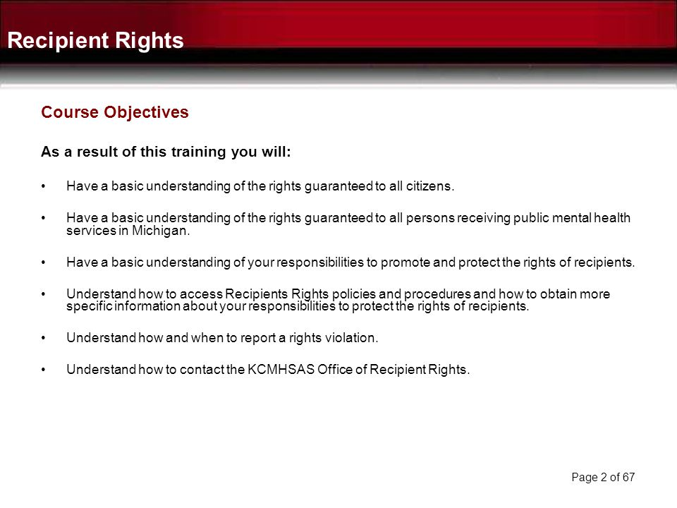 Recipient Rights Course Objectives