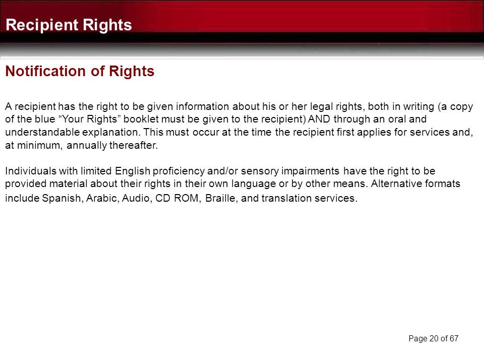 Recipient Rights Notification of Rights