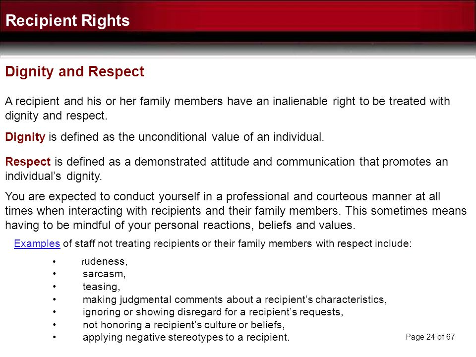 Recipient Rights Dignity and Respect