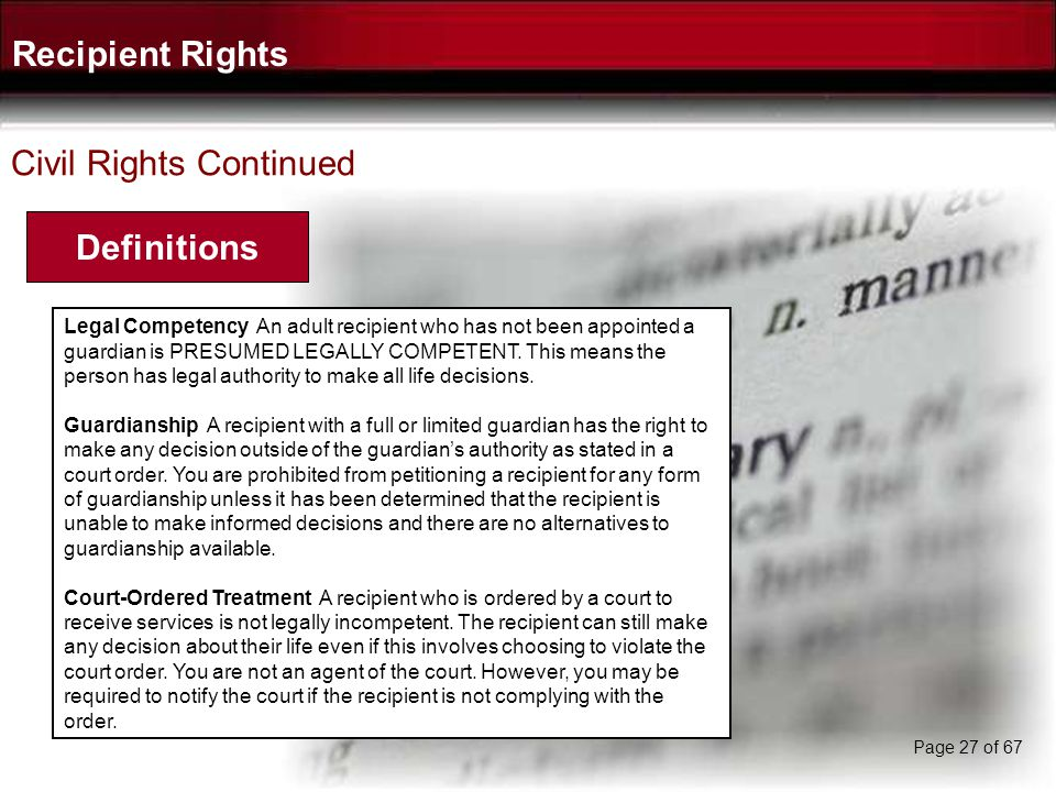Recipient Rights Definitions