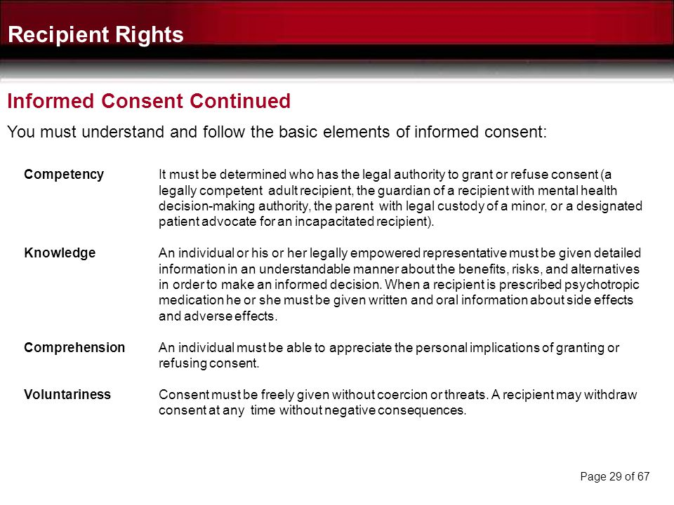 Recipient Rights Informed Consent Continued