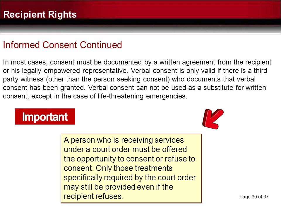 Important Recipient Rights Informed Consent Continued