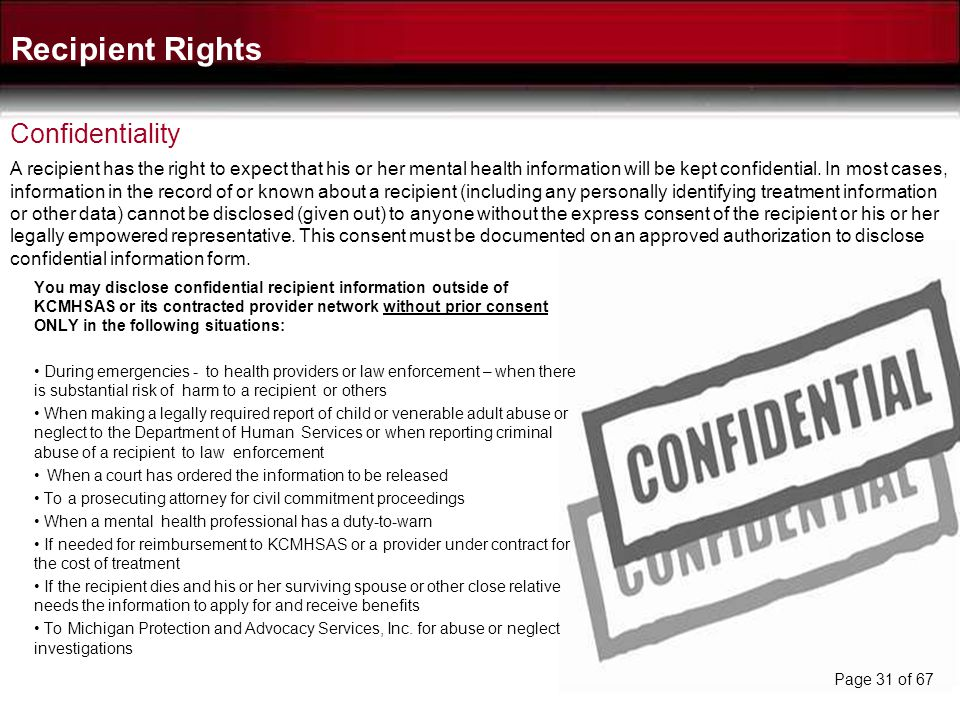 Recipient Rights Confidentiality