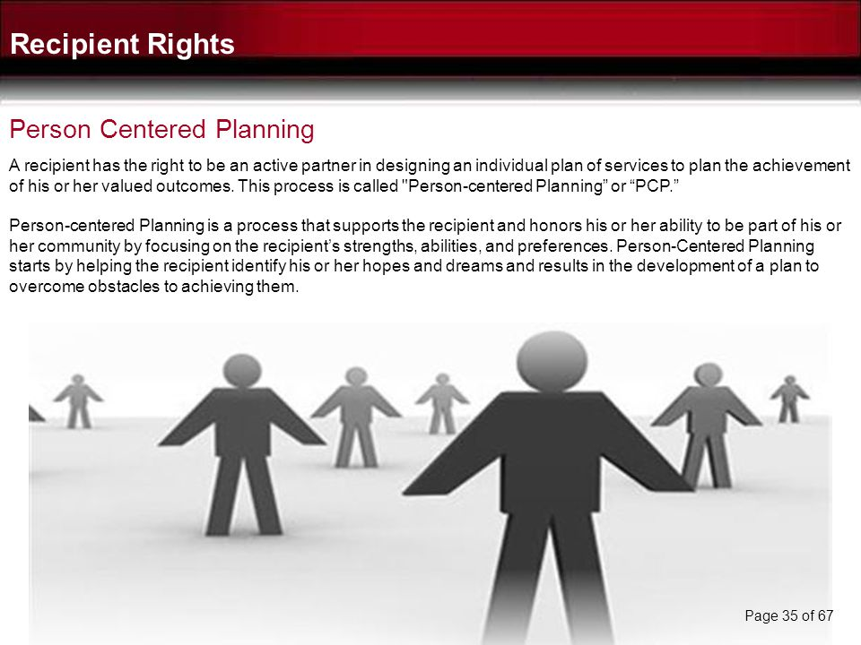 Recipient Rights Person Centered Planning