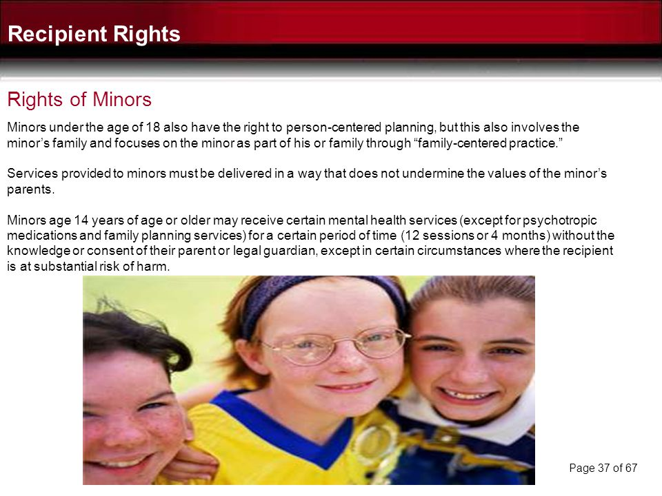 Recipient Rights Rights of Minors