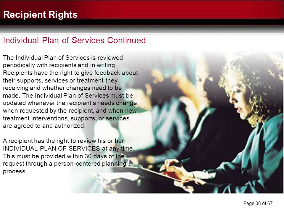 Recipient Rights Individual Plan of Services Continued