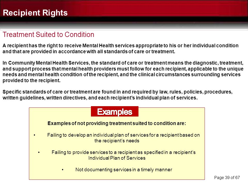 Recipient Rights Examples Treatment Suited to Condition