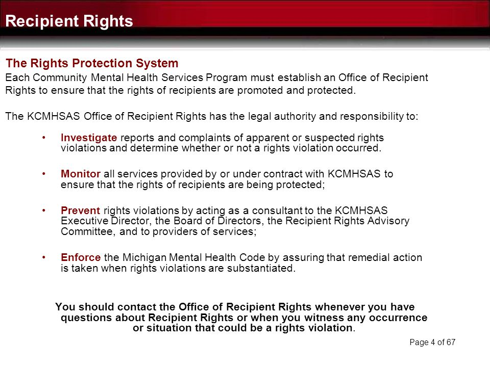 Recipient Rights The Rights Protection System