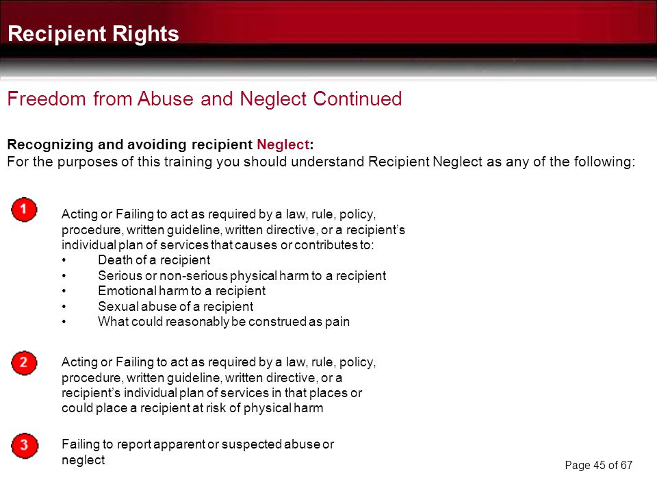 Recipient Rights Freedom from Abuse and Neglect Continued