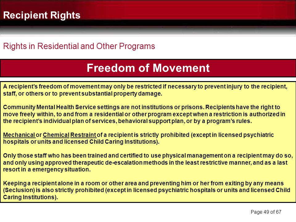 Freedom of Movement Recipient Rights