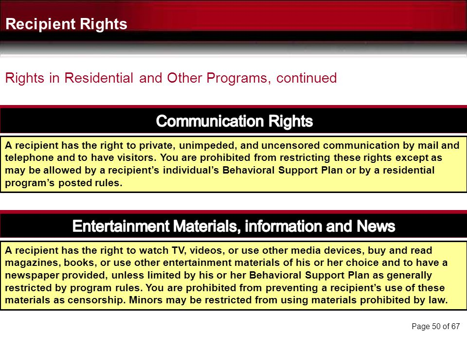 Recipient Rights Rights in Residential and Other Programs, continued