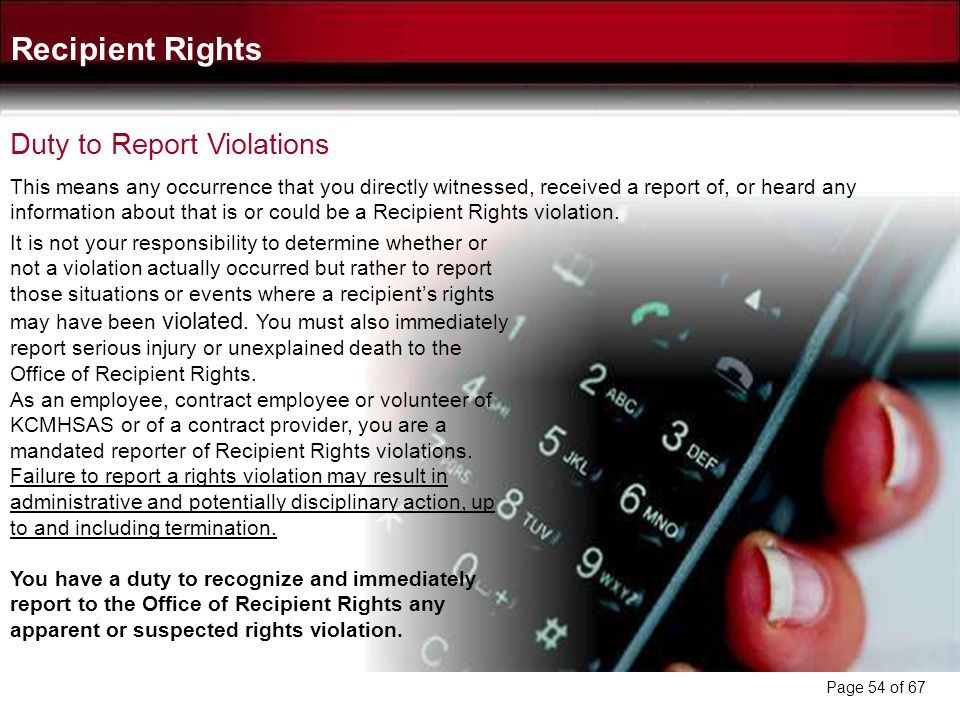 Recipient Rights Duty to Report Violations