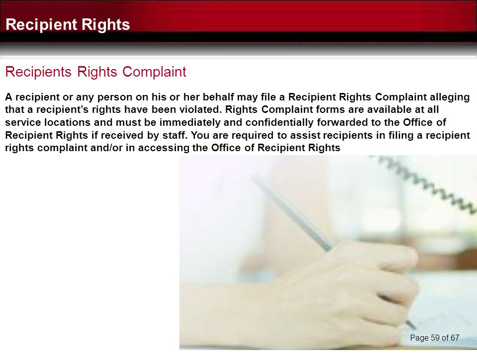 Recipient Rights Recipients Rights Complaint