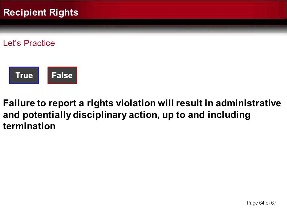 Recipient Rights Let s Practice. True. False.